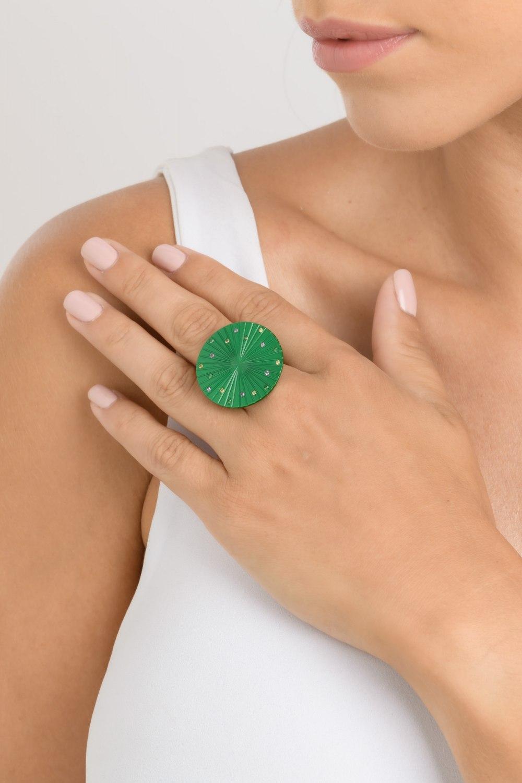 Spacecraft Green Titanium Sapphire & Tsavorite Ring