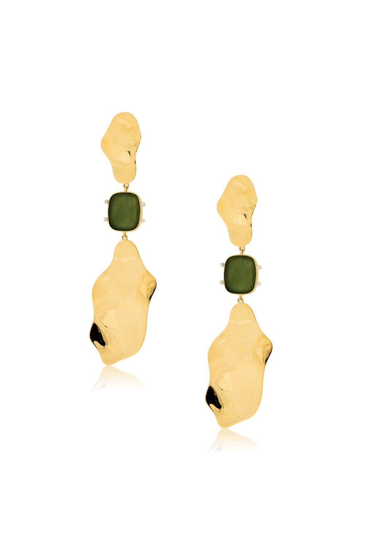 Ovalis Jade Gold Long Earrings