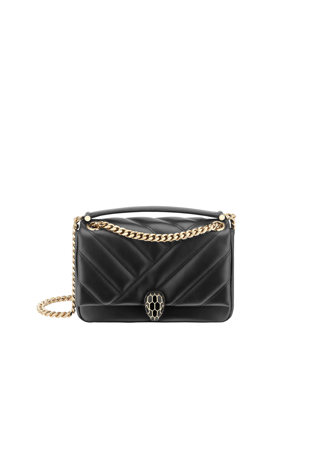 Bulgari Serpenti Cabochon Shoulder Bag Black