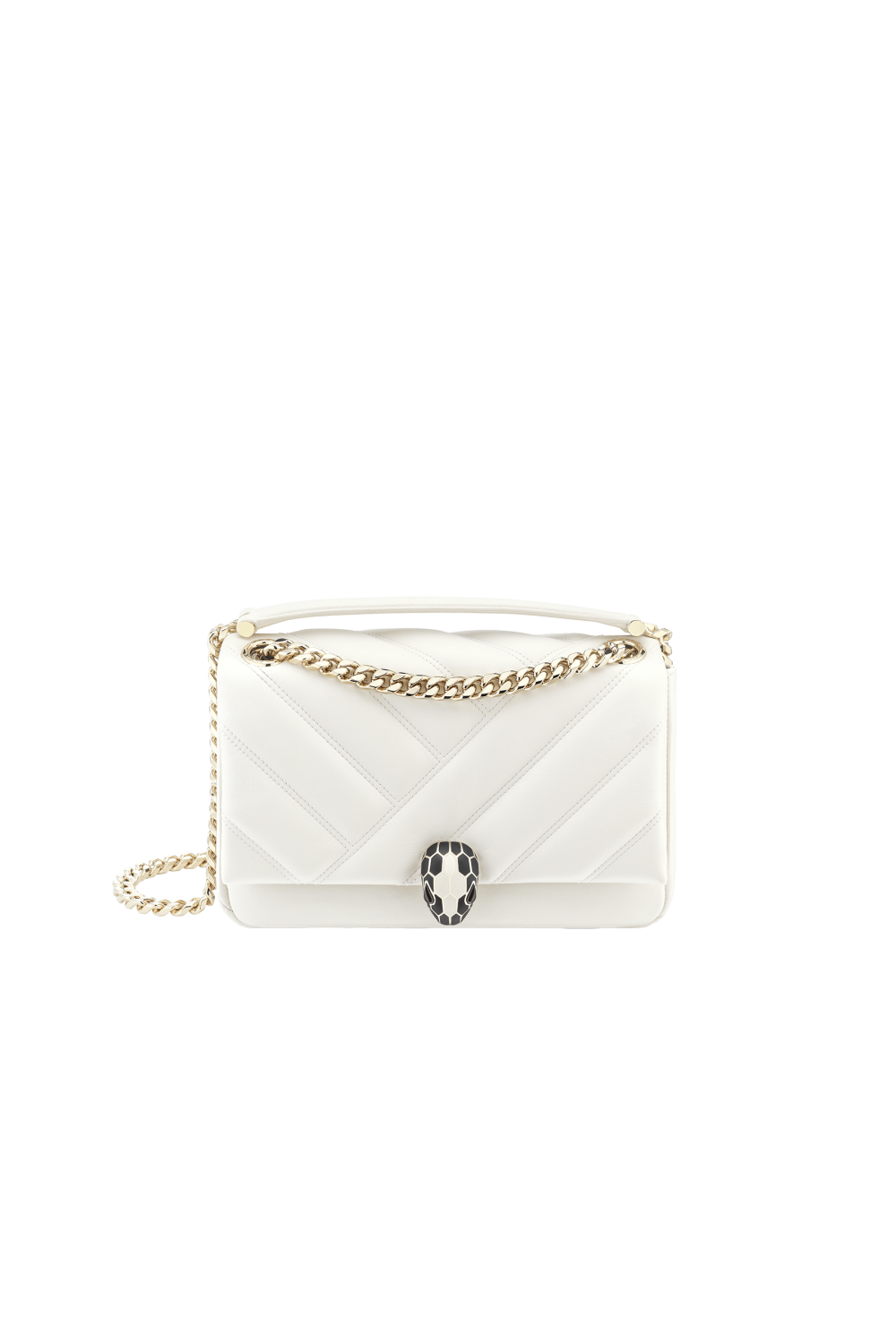 Bulgari Serpenti Cabochon Shoulder Bag White