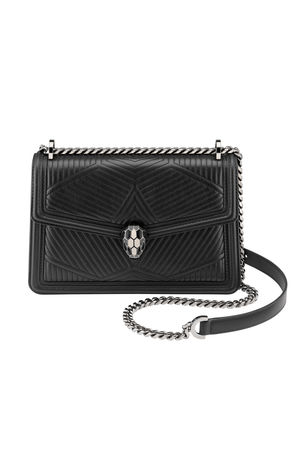 Bulgari Serpenti Diamond Blast Shoulder Bag Black