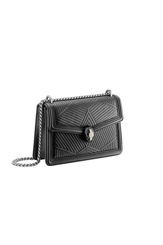 Bulgari Serpenti Diamond Blast Shoulder Bag Black