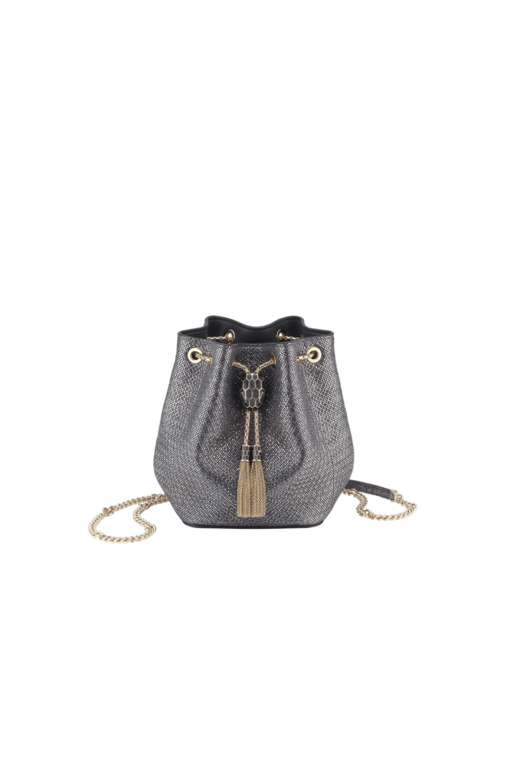 Bulgari Serpenti Forever Micro Bucket Bag in Charcoal Diamond Metallic
