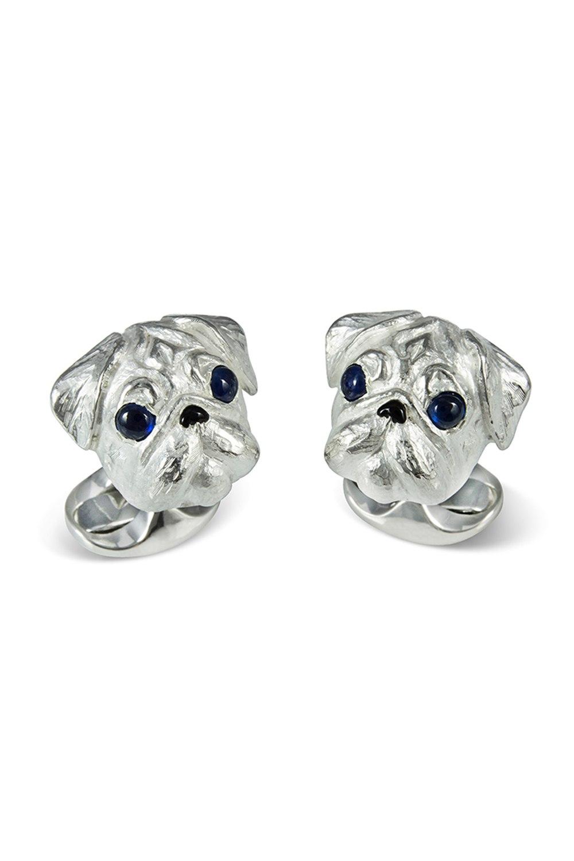 Sterling Silver Pug Dog Cufflinks