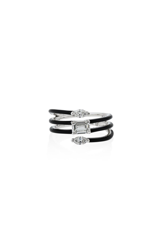 Black Ceramic & Diamond Contemporary Ring