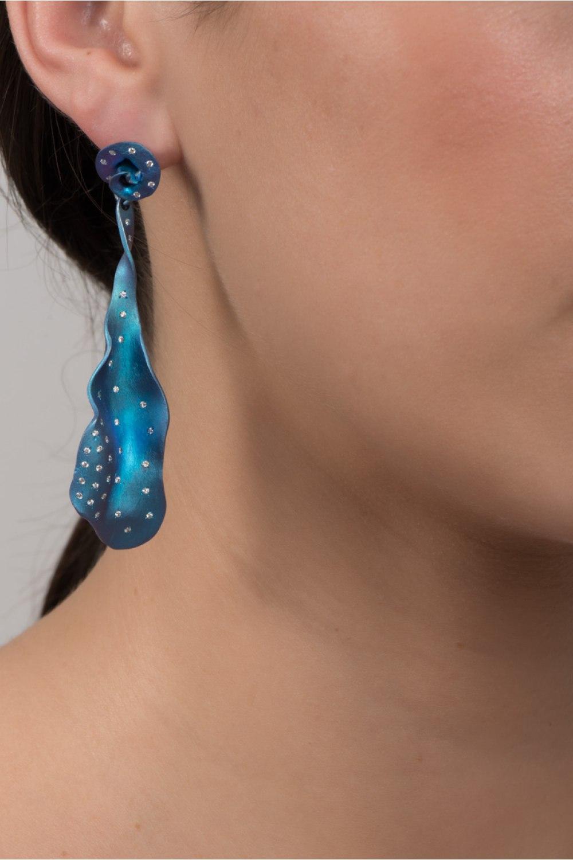 FroseN Blue Titanium Diamond Earrings