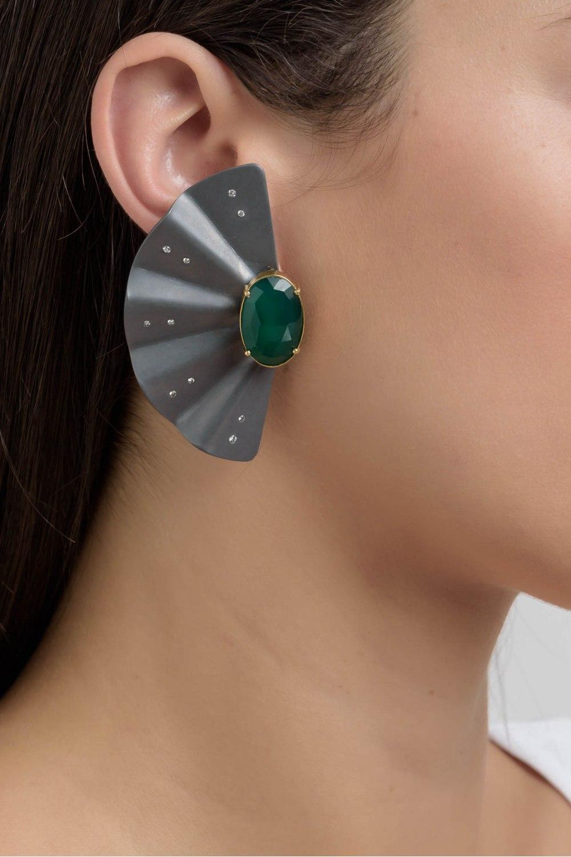 Geisha Graphite Titanium Diamond Emerald Earrings Extra Long
