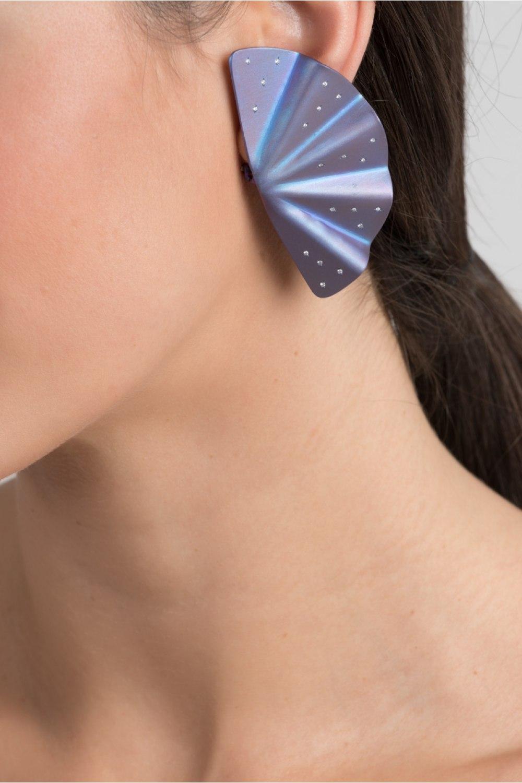 Geisha Purple Titanium and Diamond Earrings Extra Long
