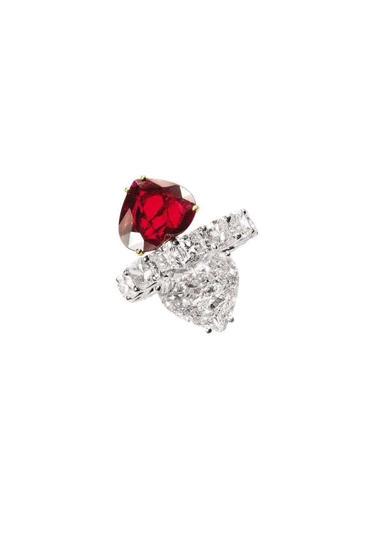 Diamond & Ruby Heart Twin Stone On Eternity Band