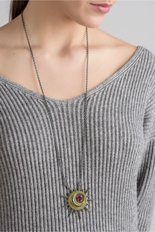 Red Heart Sun Pendant Necklace With Black Diamond Moon