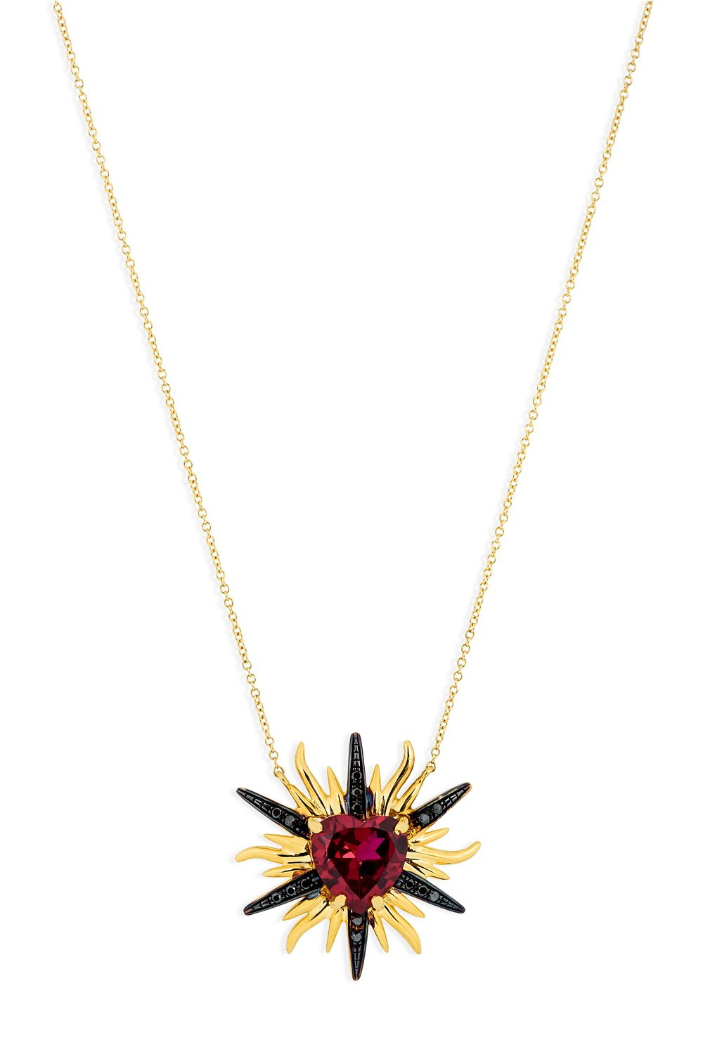 Red Heart In Yellow Gold Sun With Black Diamonds