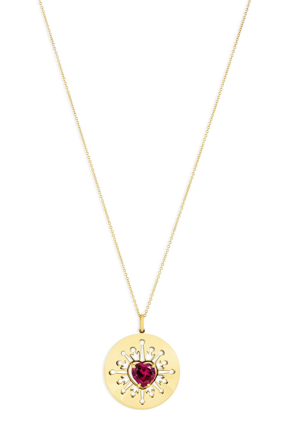 Red Heart In Round Yellow Pendant Necklace with Ray Cut-Outs