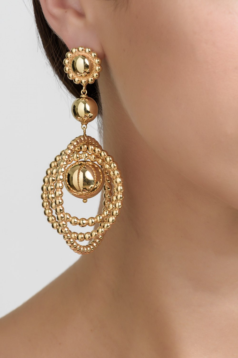 Twisting Rounds Yellow Gold Earrings