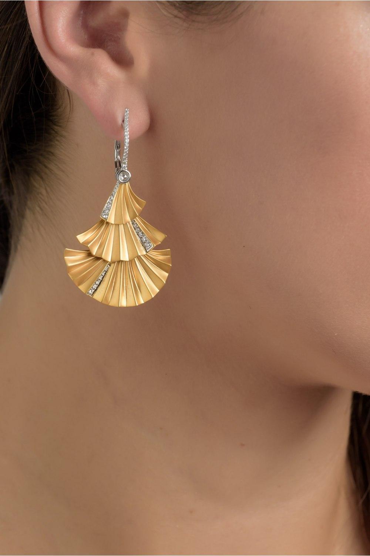 Gold Plisse Three Tier Earrings