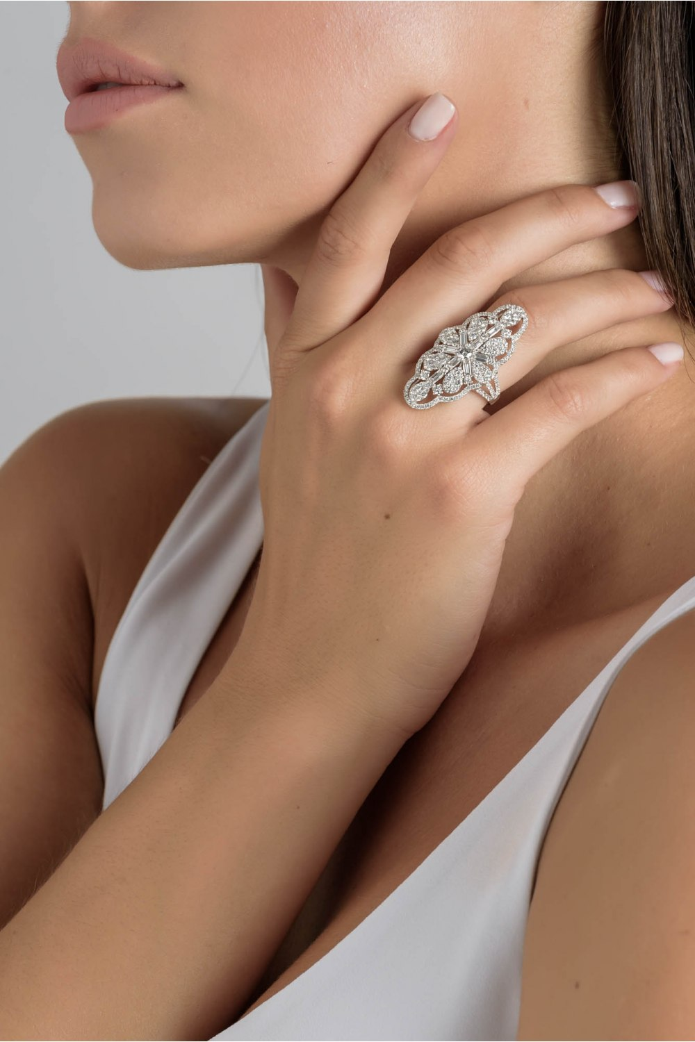 Brilliant and Baguette Cut Cluster Diamond Ring