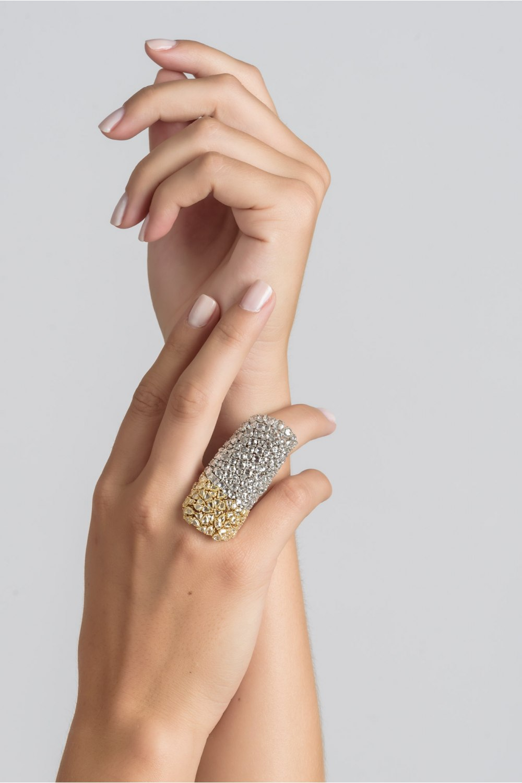 Yellow & White Rose Cut Diamond Soft Ring