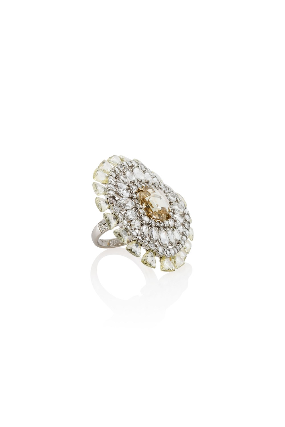 Round Fancy Shape Rose and Brilliant Cut White and Yellow Diamond Ring