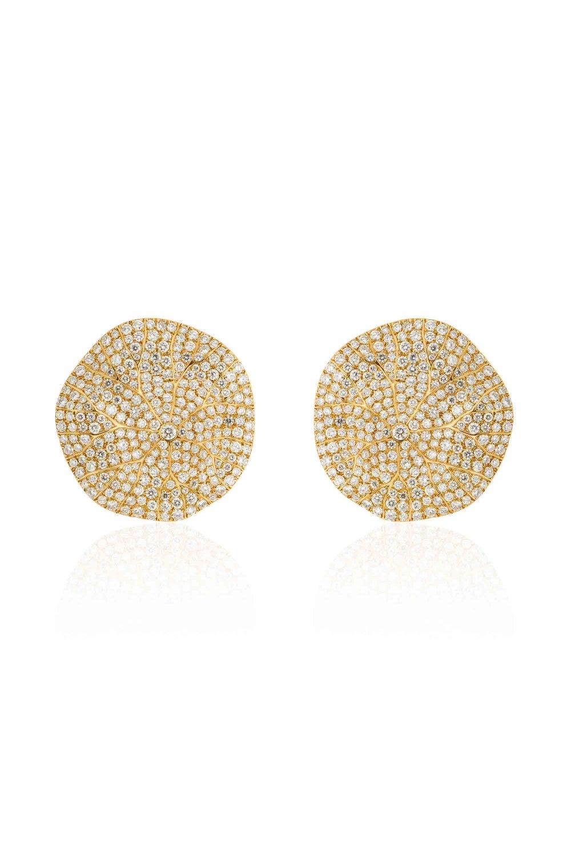 Statement Water Lily Leaves Diamond Earrings