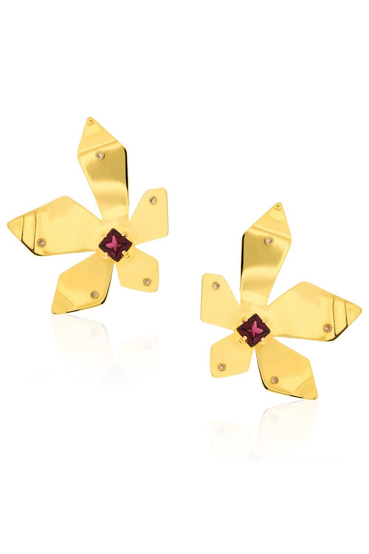 Kessaris-Anastasia Kessaris-Flowe Power Yellow Gold Tourmaline Earrings