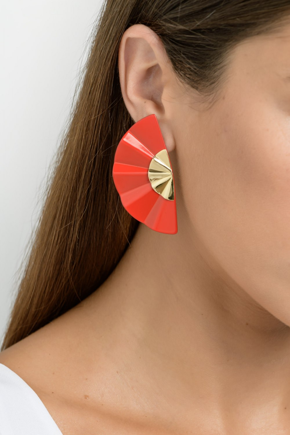 Kessaris-Golden Geisha Red Titanium Earrings