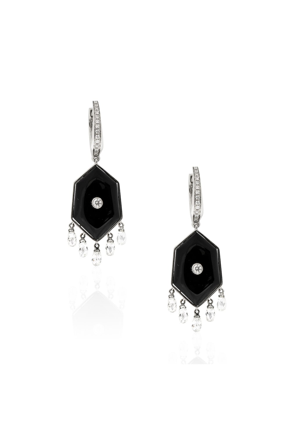 Kessaris-Black Onyx Diamond Drop Earrings