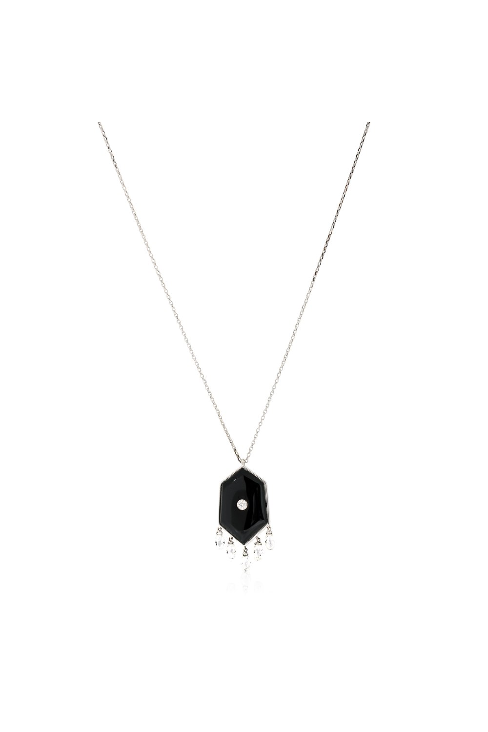 Kessaris-Black Onyx Diamond Pendant Necklace