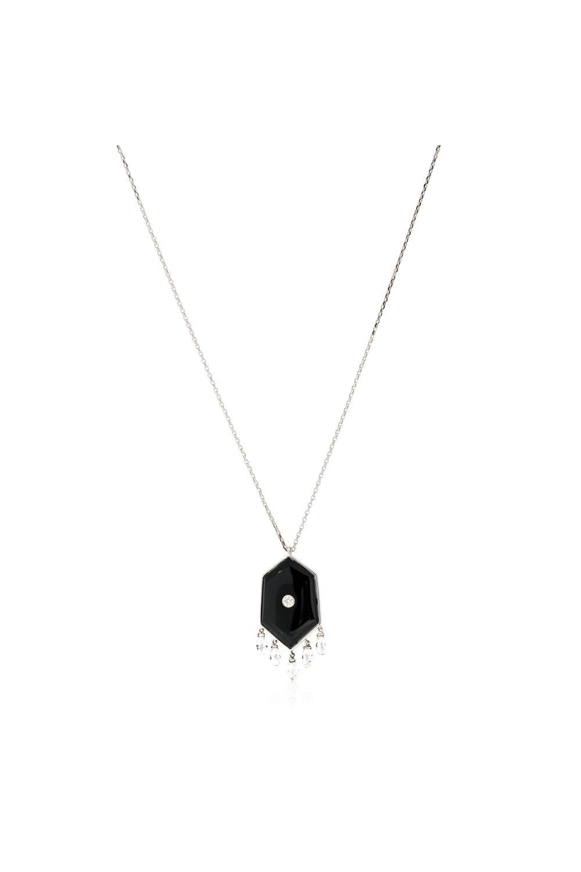 Kessaris-Black Onyx Diamond Pendant Necklace