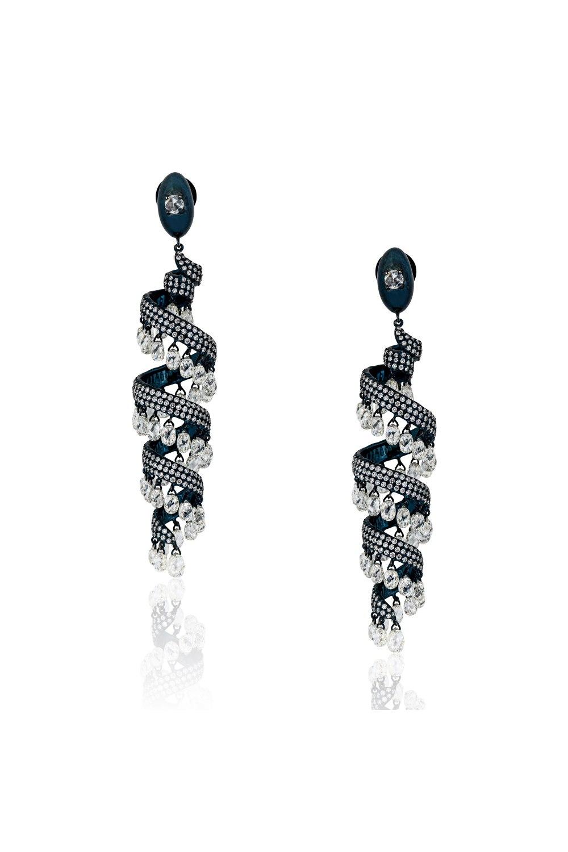 Brilliant and Briolette Diamond Serpentine Earrings