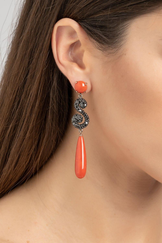 Coral & Black Diamond Dangle Earrings