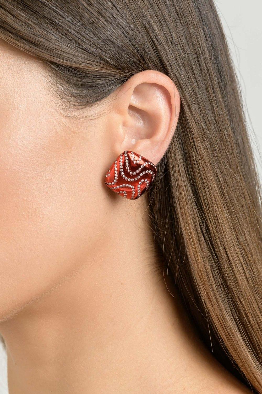 Kessaris-Diamond Bright Red Earrings