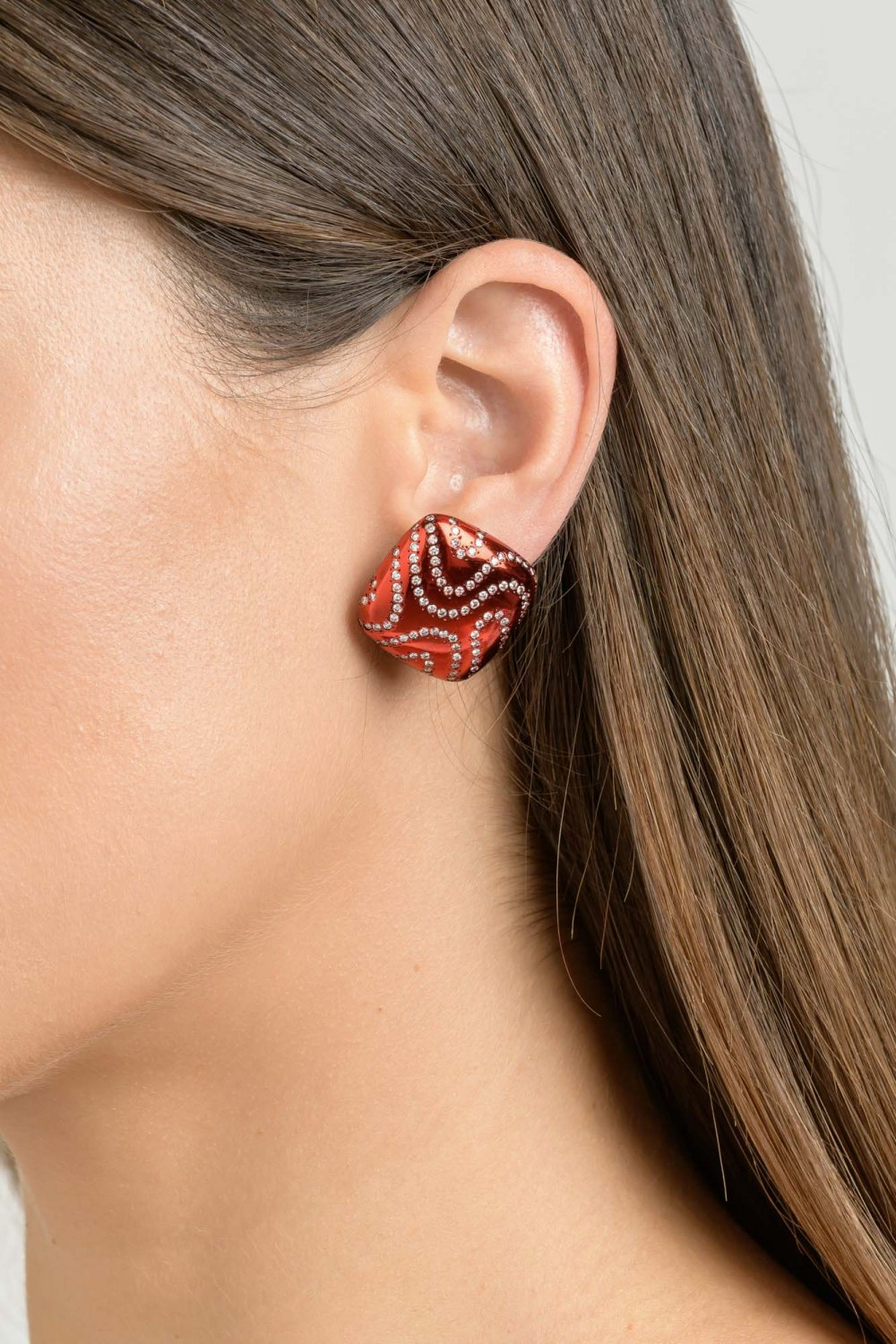 Kessaris-Diamond Bright Red Earrings