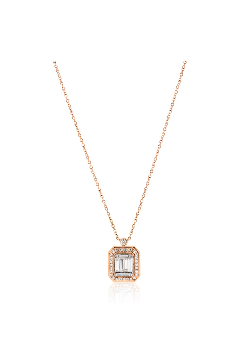 Kessaris-Diamond Cluster Emerald Pendant Necklace