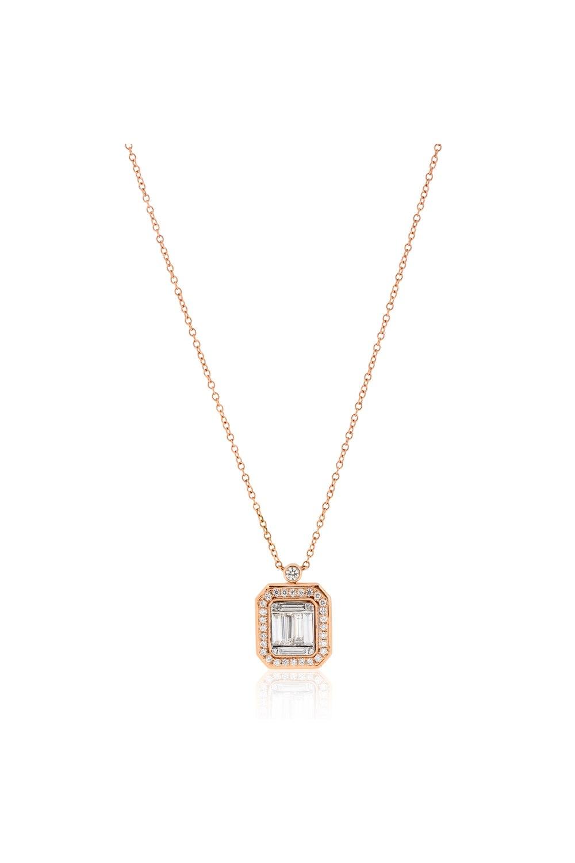 Kessaris-Diamond Cluster Emerald Pendant Necklace