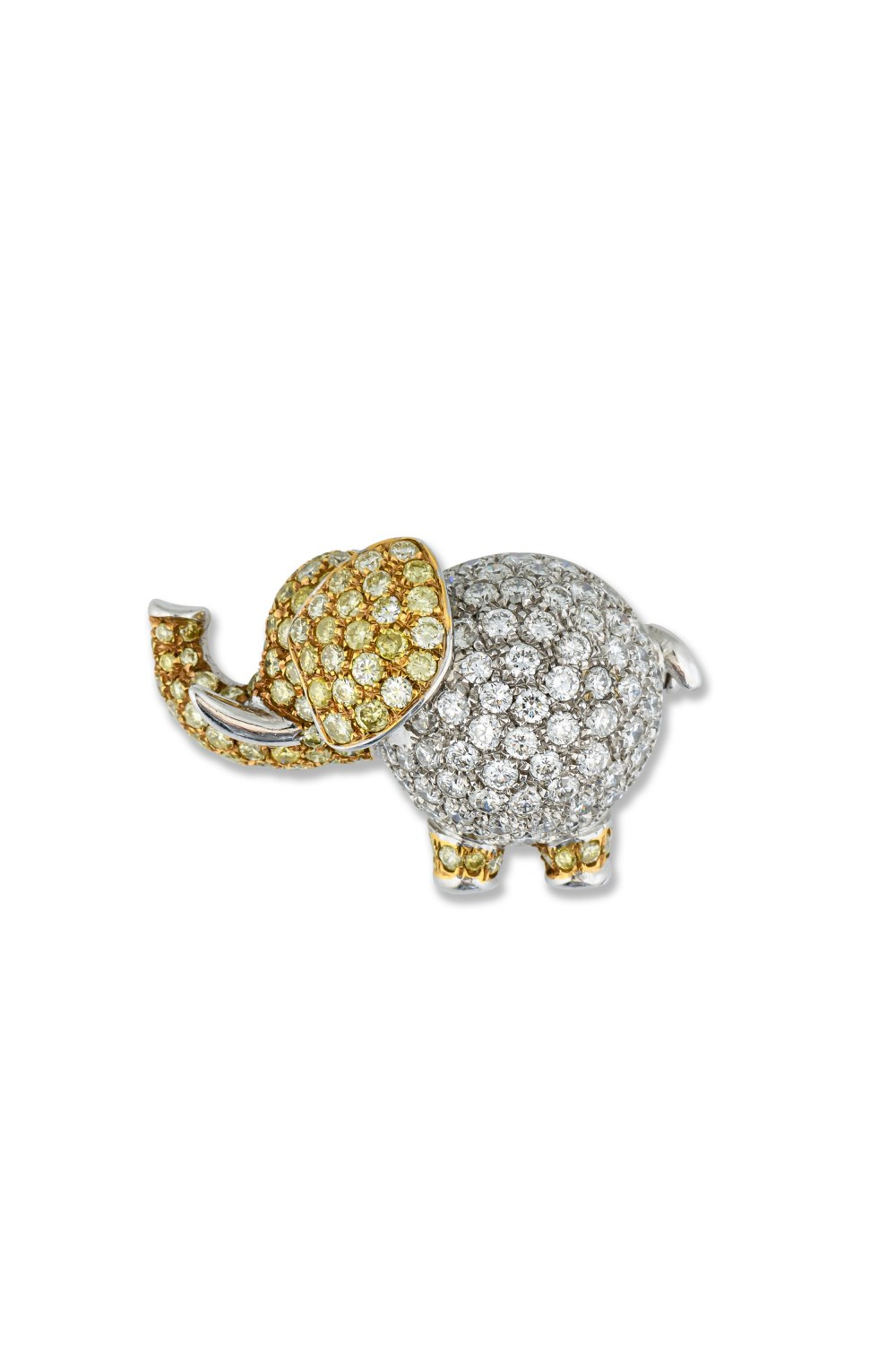 Diamond Elephant Brooch