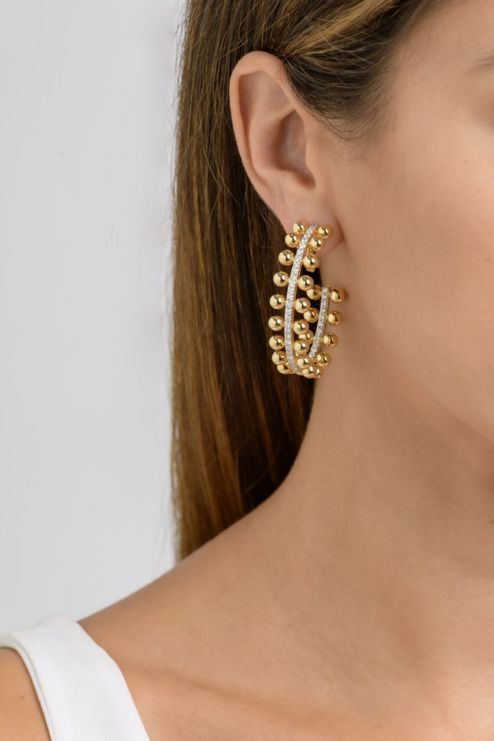 Kessaris-Diamond Gold Hoops