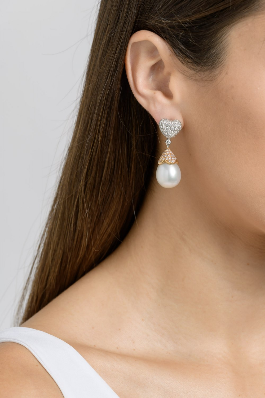 Diamonds and Pearls Heart Drop Earrings