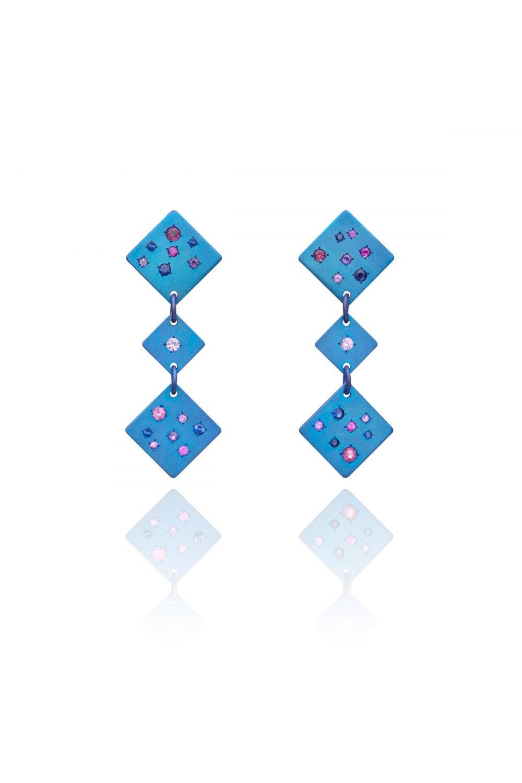 Drunk Dice Blue Titanium Sapphire Earrings
