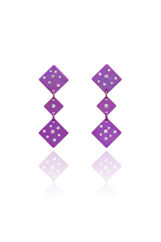 Drunk Dice Fuchsia Titanium Diamond Earrings