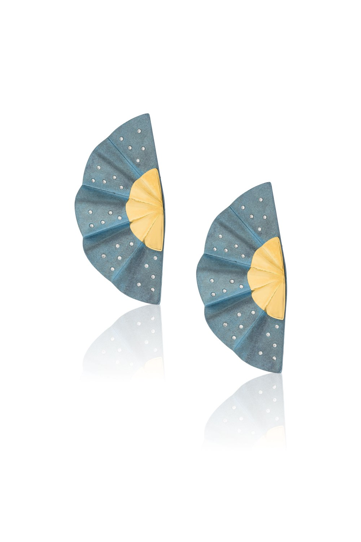 Golden Geisha Light Blue Titanium Diamond Earrings Long