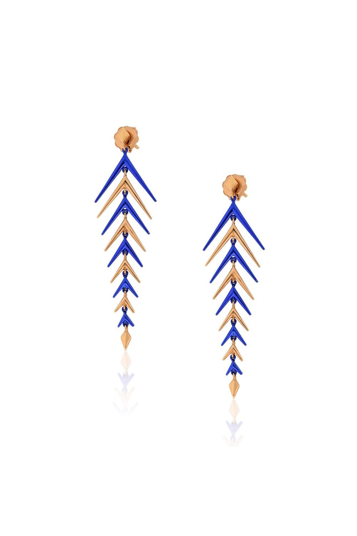 Rose Gold Blue Earrings