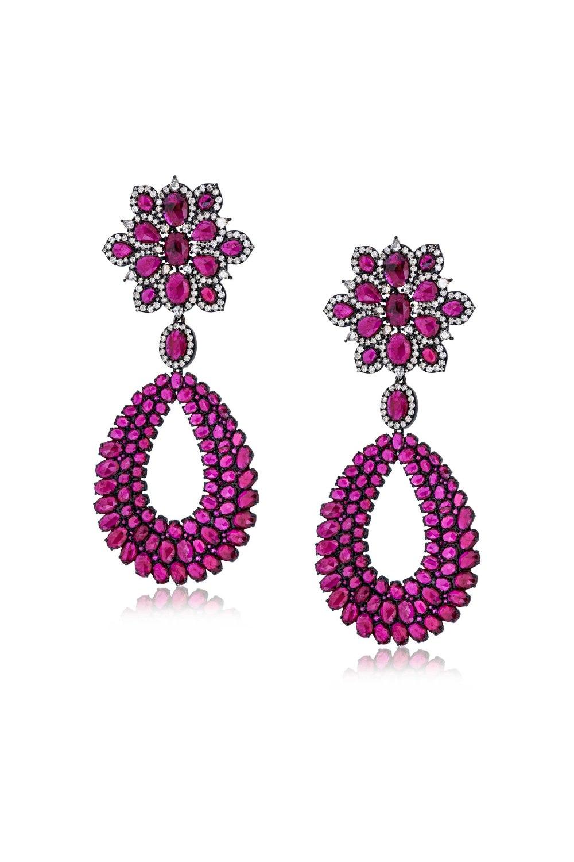 Ruby Flower Drop Gold Earrings