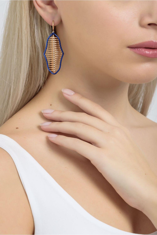 Rose Gold Diamond Blue Earrings