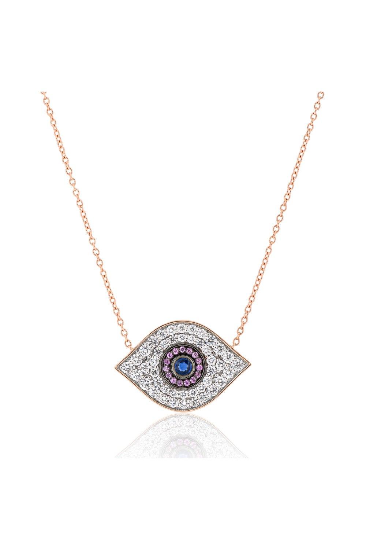 Evil Eye Diamond & Sapphire Pendant Necklace