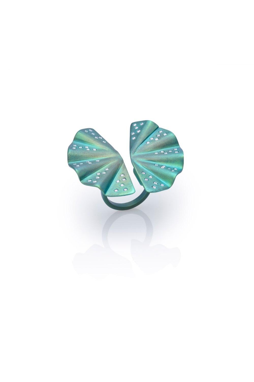 Geisha Green Titanium and Diamond Ring