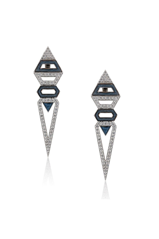 Geometrical Triangle Enamel Diamond Earrings