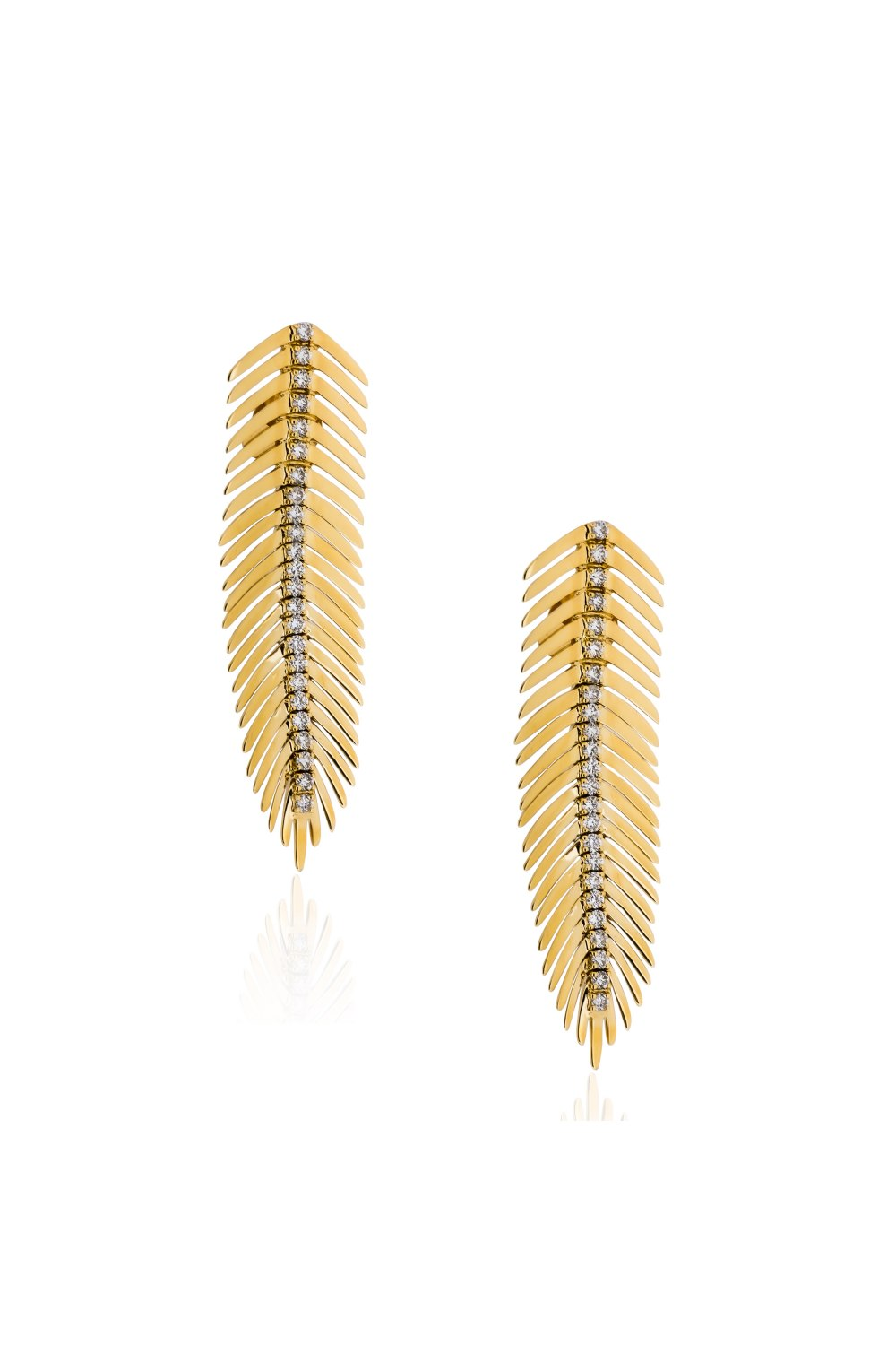 Kessaris-Gold Diamond Feather Earrings