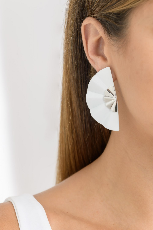 Kessaris-Golden Geisha White Titanium Earrings Long