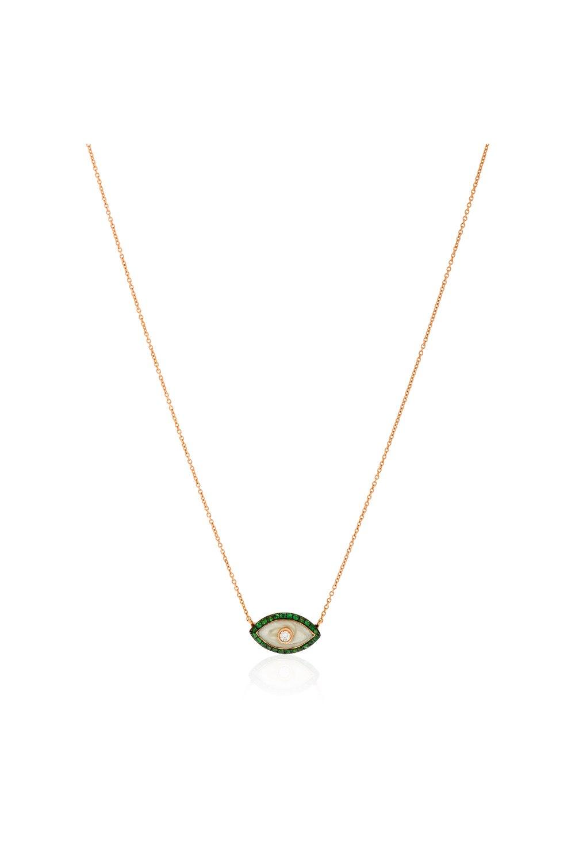 Green Evil Eye Diamond Pendant Necklace