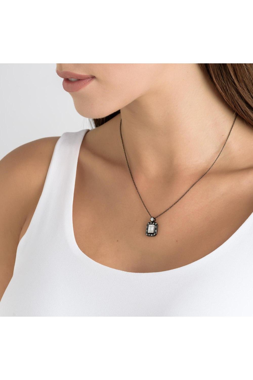 Black Rhodium Gold Diamond Pendant Necklace