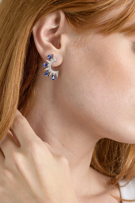KESSARIS-Sapphire Diamond Earrings
